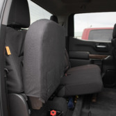 2021 Chevy Silverado Rear Seat with Black Ironweave TigerTough seat covers.