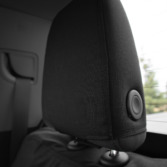 Closeup of Black Ironweave TigerTough seat covers on headrest