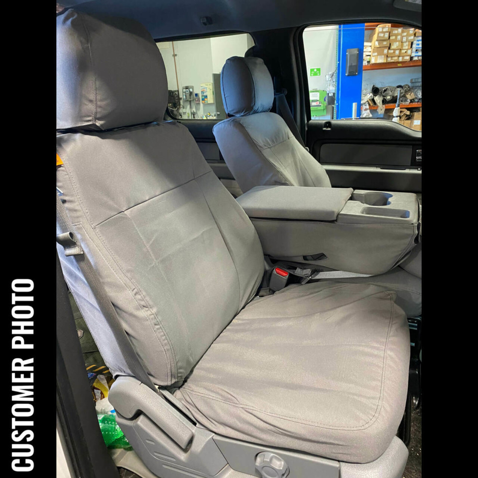 Ford F150 with gray TigerTough custom fit waterproof seat covers.