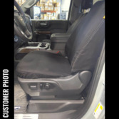 Front Seat of a 2019 Chevy Silverado 1500 with Black TigerTough Seat Covers