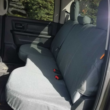 RAM truck rear seat with gray TigerTough seat covers.
