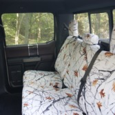 Ford rear seat with TigerTough Snowfall Camo seat covers.