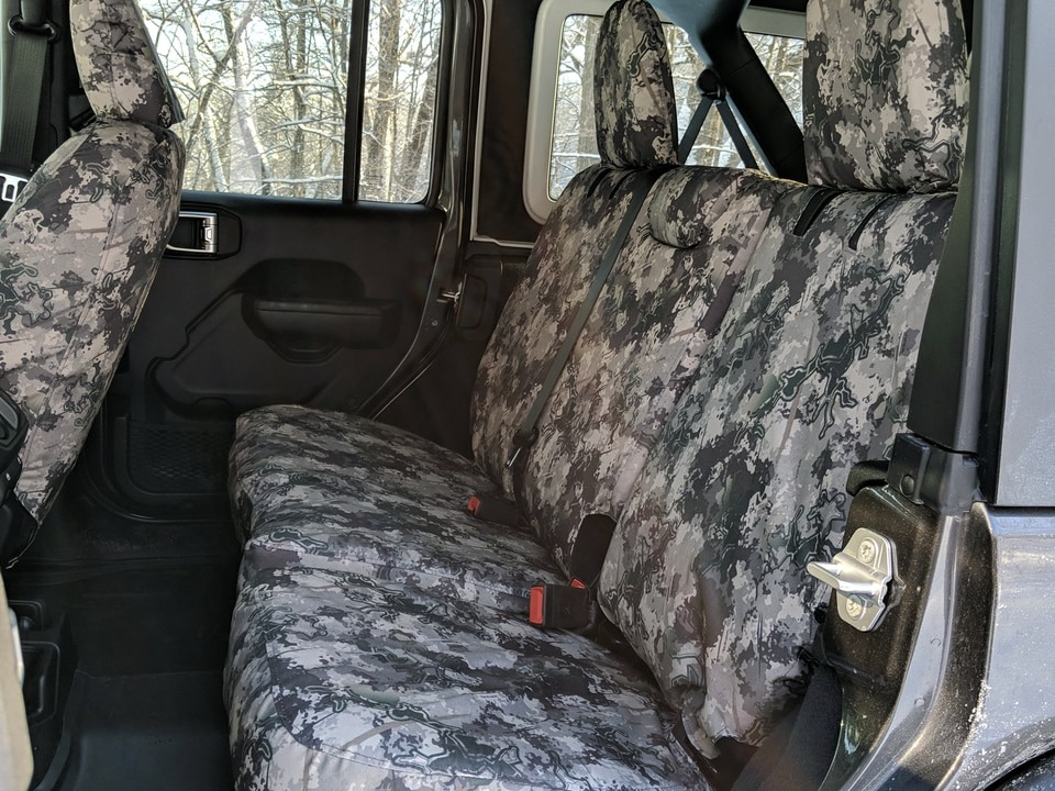 Jeep Wrangler rear seat with TigerTough seat covers in TrueTimber Wester Viper Camo.