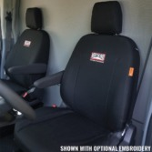 Ford Transit with black TigerTough seat covers.
