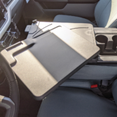 2021 Ford F150 with gray TigerTough seat covers, work surface console